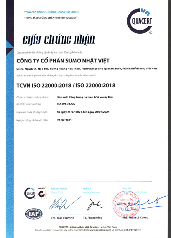 Giấy chứng nhận đông trùng hạ thảo tươi và sấy khô của SUMO đạt tiêu chuẩn ISO 2200